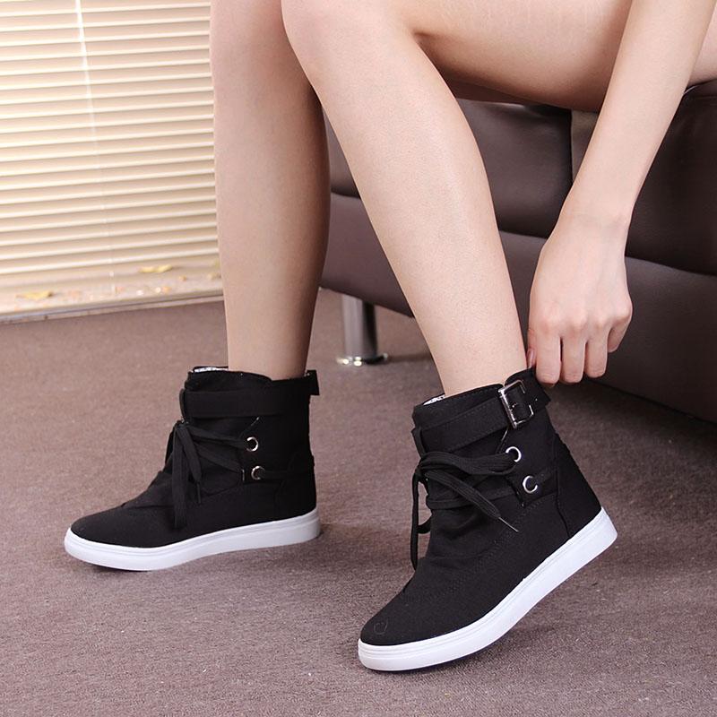 百搭女鞋高帮帆布鞋女2020新款韩版鞋子女潮鞋秋款学生复古板鞋女