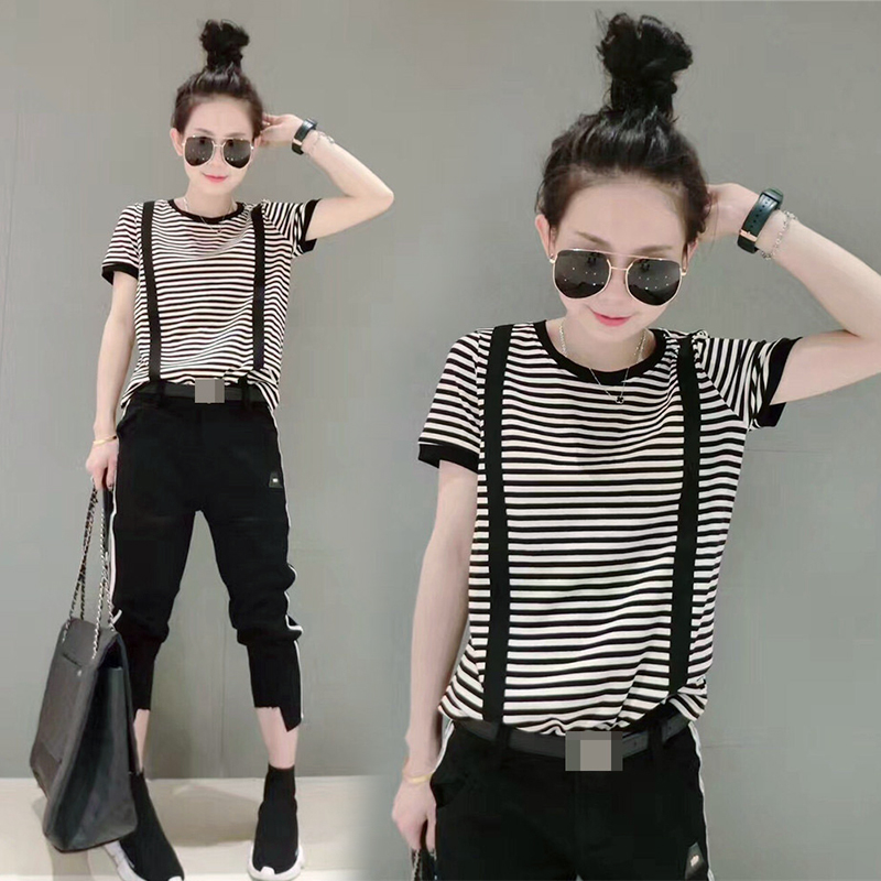 Spring and summer 2020 new fashion versatile fake strap striped womens T-shirt casual cotton short sleeve thin top fashion