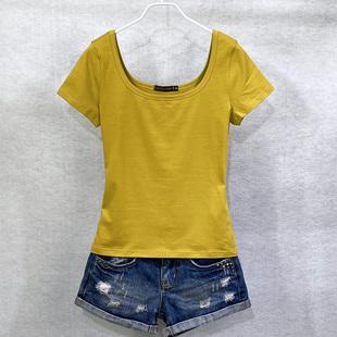 夏装 百搭性感纯色打底衫 半袖 女体恤 t恤女U领短款 韩范修身 纯棉短袖