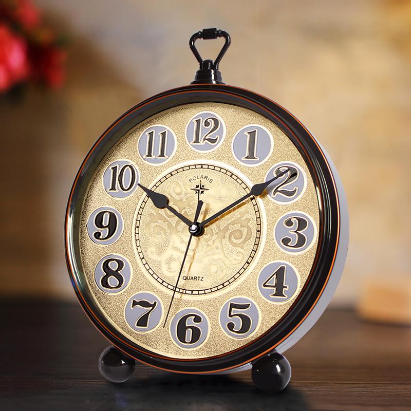 68.00元包邮北极星欧式复古静音卧室床头钟创意学生闹钟美式简约座钟田园钟表