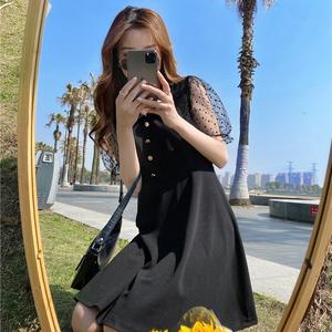 實拍大碼女裝連衣裙夏裝女神范胖MM網紗拼接袖收腰顯瘦赫本小黑裙