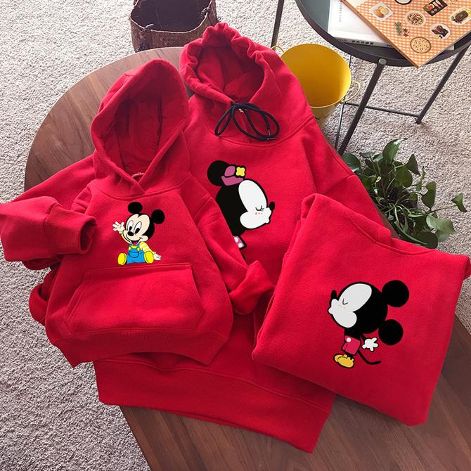加绒加厚 亲子装 女装 一家三口四口秋冬洋气母子母 亲子卫衣红色儿童