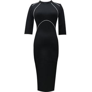 女裝2020年新款中長裙修身七分袖裙子秋冬緊身裙中袖包臀連衣裙女