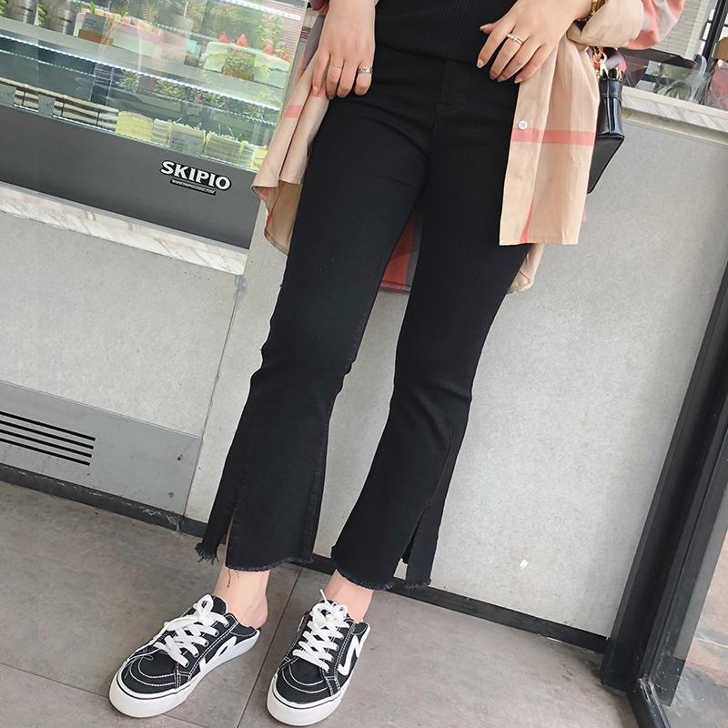 摩妮卡大码女装阔腿弹力牛仔裤胖mm显瘦开叉微喇叭2018秋装新品