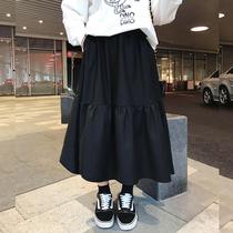 摩妮卡大码女装过膝裙子2019新款胖mm秋装高腰荷叶边中长款半身裙