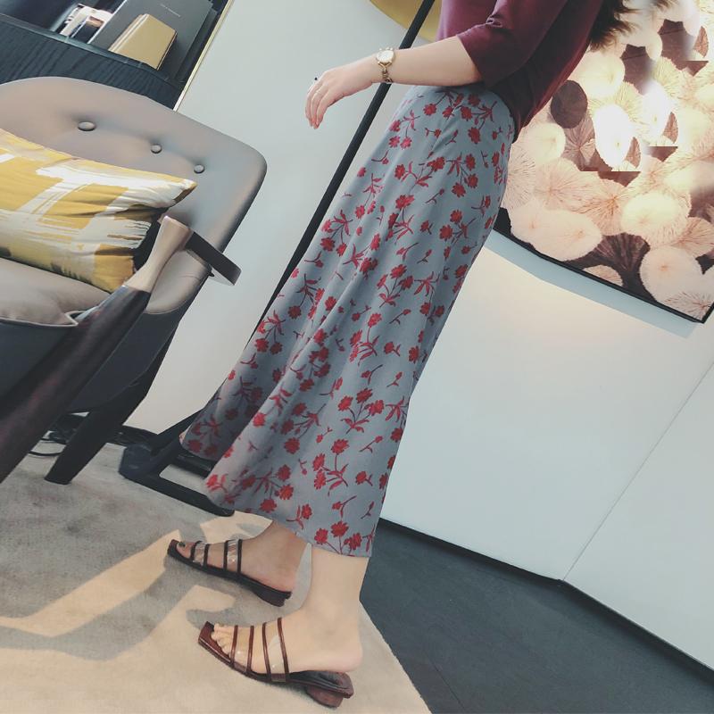 摩妮卡大码女装中长裙胖mm复古花色半身裙2018夏季新品遮肉显瘦