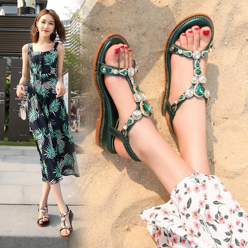 水钻凉鞋女仙女风2019新款百搭时尚坡跟网红ins潮中跟粗跟罗马鞋