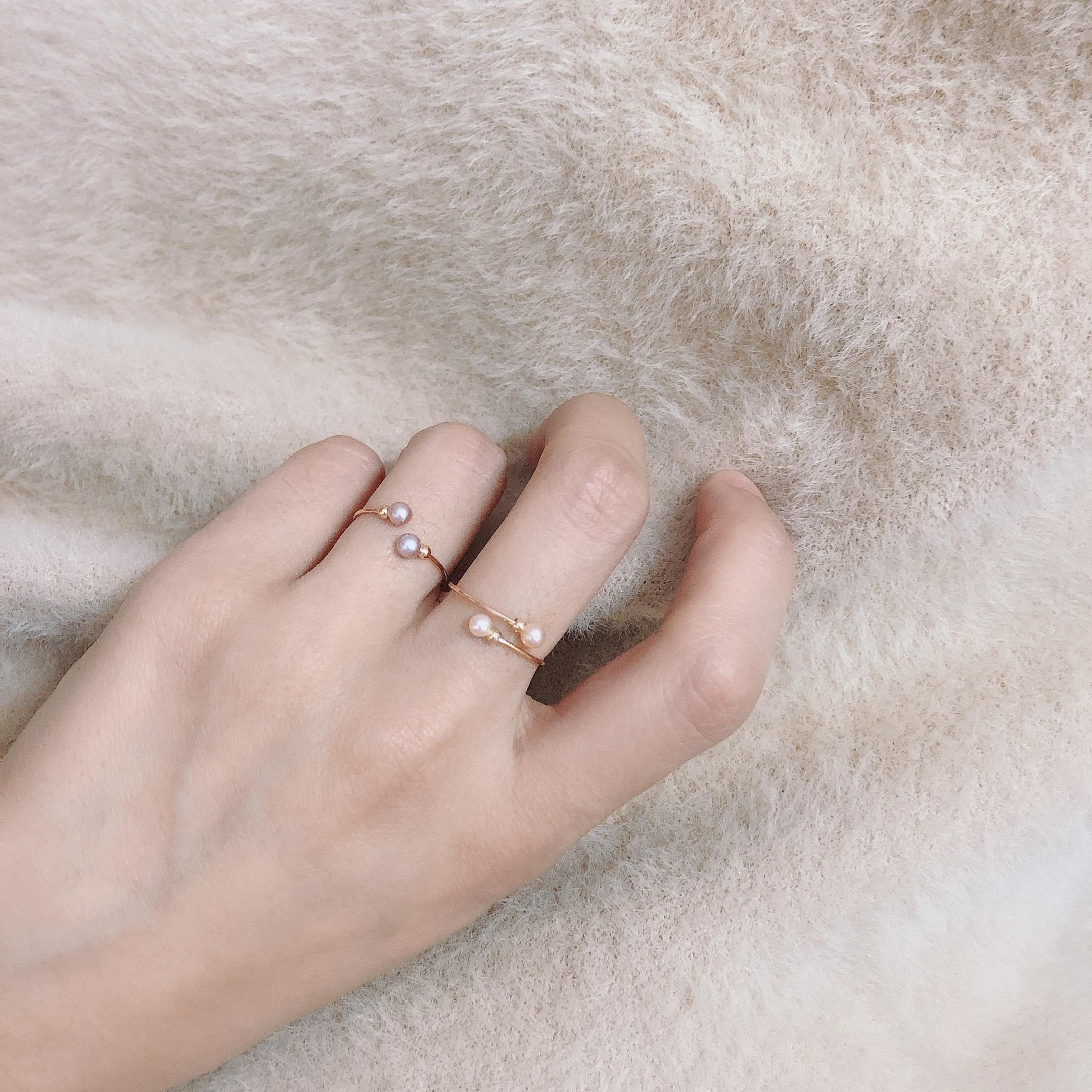 Time定制简约小众设计绕线14k金天然小珍珠可调节开口女戒指尾戒