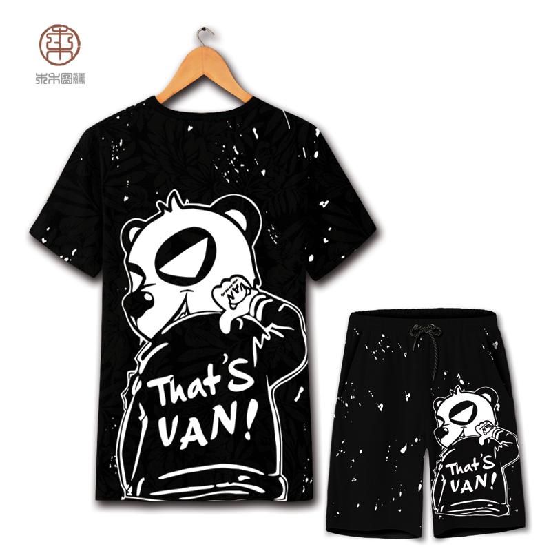 欧洲站熊猫图案卡通印花短袖T恤潮牌男套装个性短裤大码半袖t