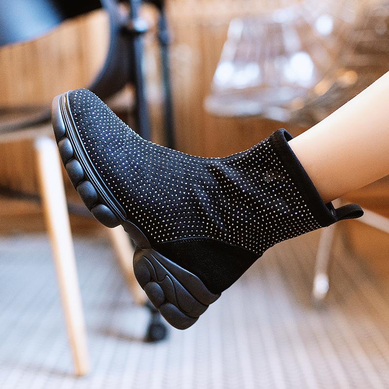 网红弹力靴2019新款秋季真皮短靴英伦风厚底百搭ins靴水钻短靴女