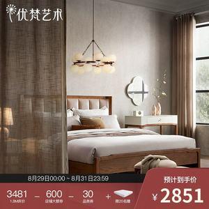 优梵艺术阁雅现代中式实木脚软包床
