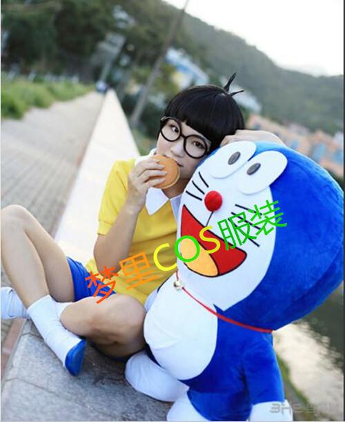 哆啦A梦叮当机器猫 野比大雄 小夫 胖虎 静香cosplay服装成人儿童图片