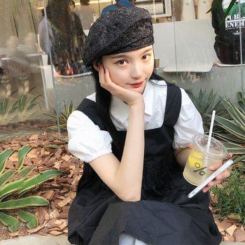 韩版蕾丝花朵贝蕾夏天女生日系帽子