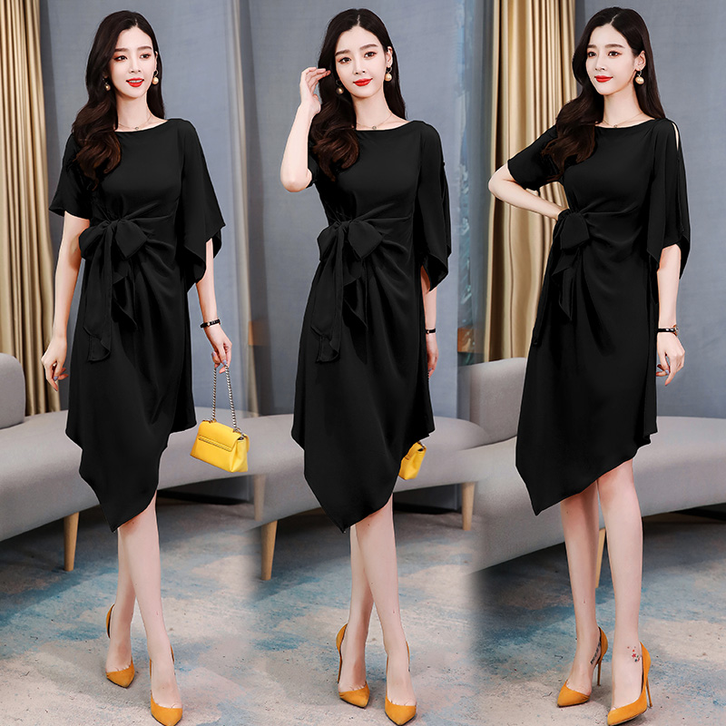 New leaky shoulder short sleeve skirt pleated lace up bow dress irregular one-piece skirt yellow / black jr01115