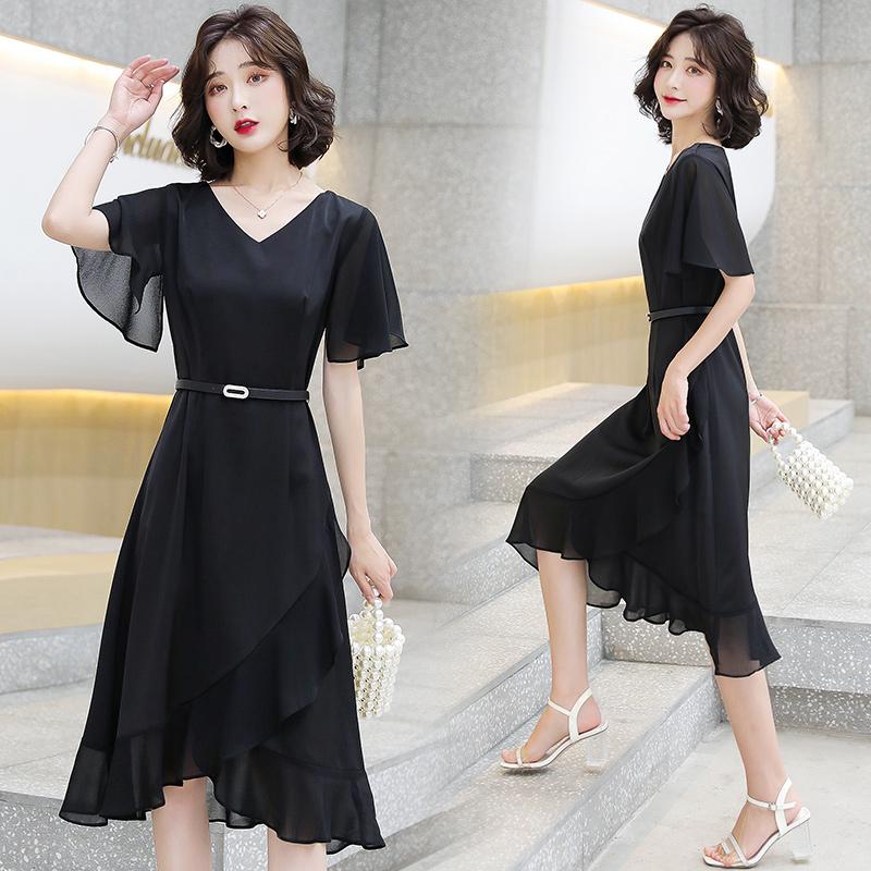 夏季裙子醋酸连衣裙中长款过膝裙V领短袖裙气质荷叶边黑色连身裙