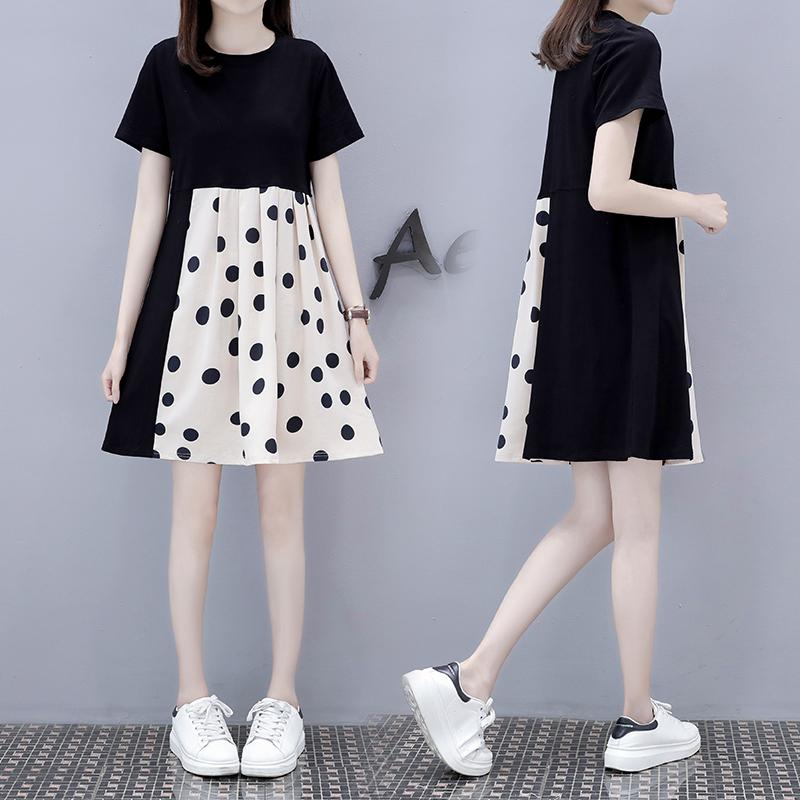 Summer contrast large dot stitching black dress round neck short sleeve skirt loose waist Jumpsuit jy08953