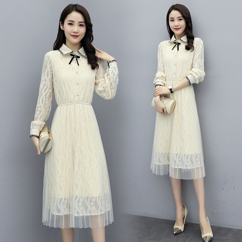 Temperament new long sleeve skirt milky white lace skirt Elastic Waist Dress Medium Length Dress one-piece ky09a05