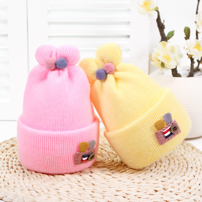 婴儿羊绒胎帽子0秋冬新生儿毛线帽3-6个月耳宝宝保暖护卤门帽批发