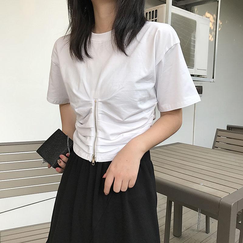 上衣设计感女小众夏季2019新款露脐短款短袖显瘦修身气质心机t恤限时抢购