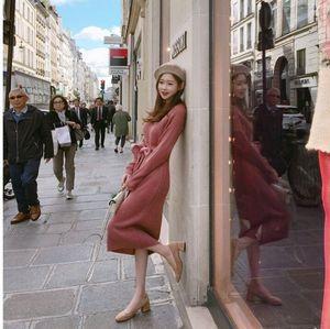 甜美纯色系带收腰针织打底连衣裙7807