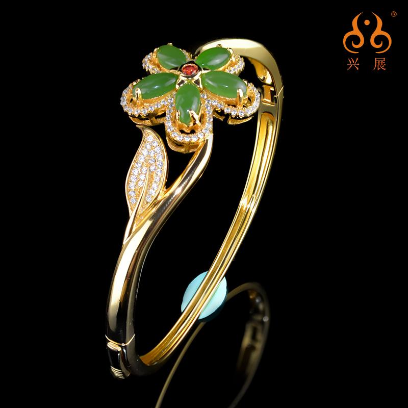 興展の宝石の花が咲いて富貴な新商品の民族の風のアクセサリの碧玉の925銀は玉の腕輪の女史と田の碧玉を嵌めます。