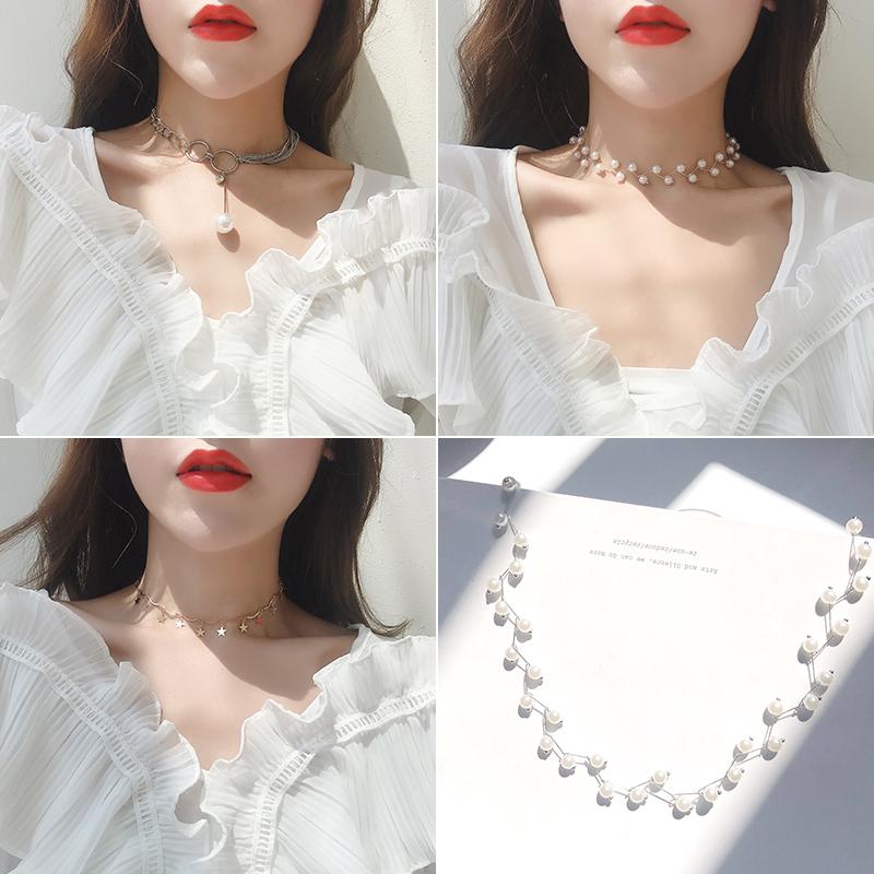 珍珠网红锁骨链女项链小众项圈颈带choker简约潮气质锁骨短款脖链