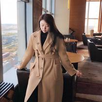 汐家女装秋冬新款大码毛呢外套女胖mm宽松洋气长款呢子大衣厚7070