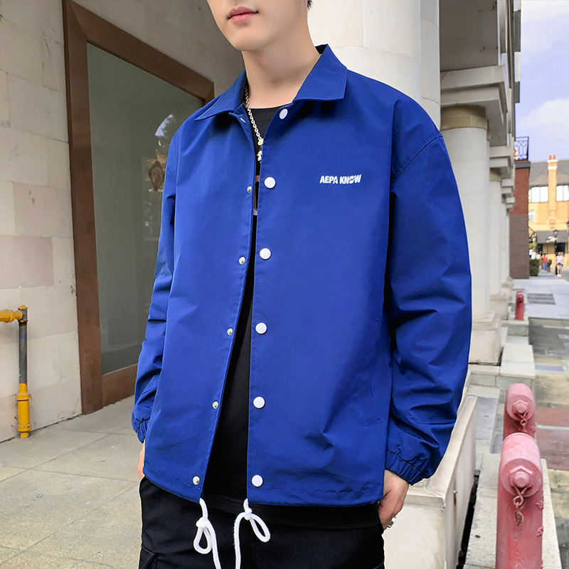 Leisure coach jacket mens spring and autumn loose mens sports coat student couple Lapel coat fashion brand