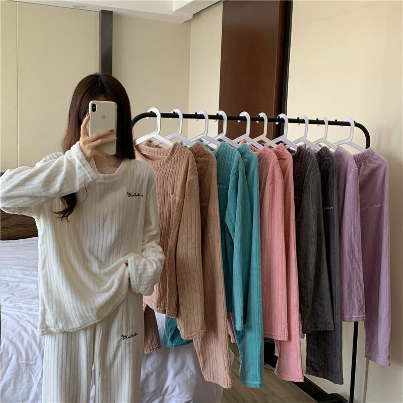 實拍 6526冬款休閑百搭寬松睡衣套裝可外穿簡約時尚家居服