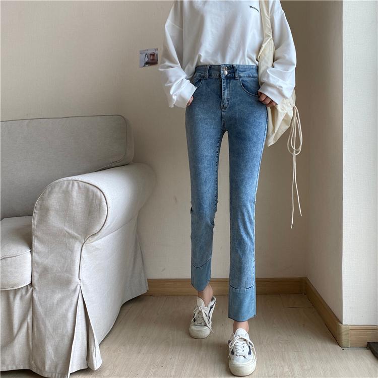 控价售价不低于38.8实拍 5826韩版chic修身高腰复古九分裤牛仔裤