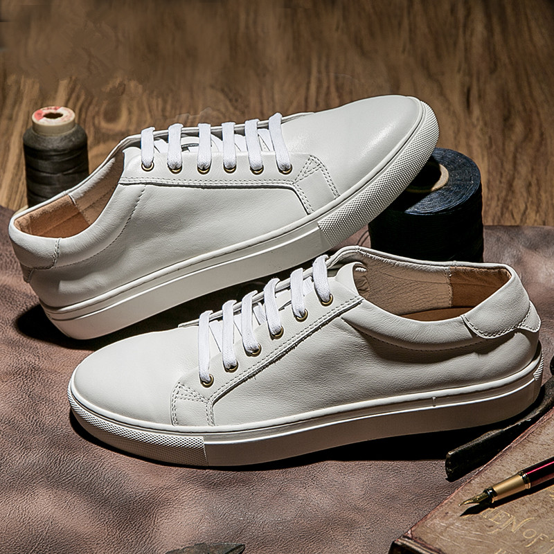 新款真皮小白鞋男韩版潮夏季百搭男士休闲鞋情侣男女平底白色板鞋