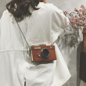 链条迷你小包包女2020秋季新款港风复古相机盒子包单肩斜挎小方包图片