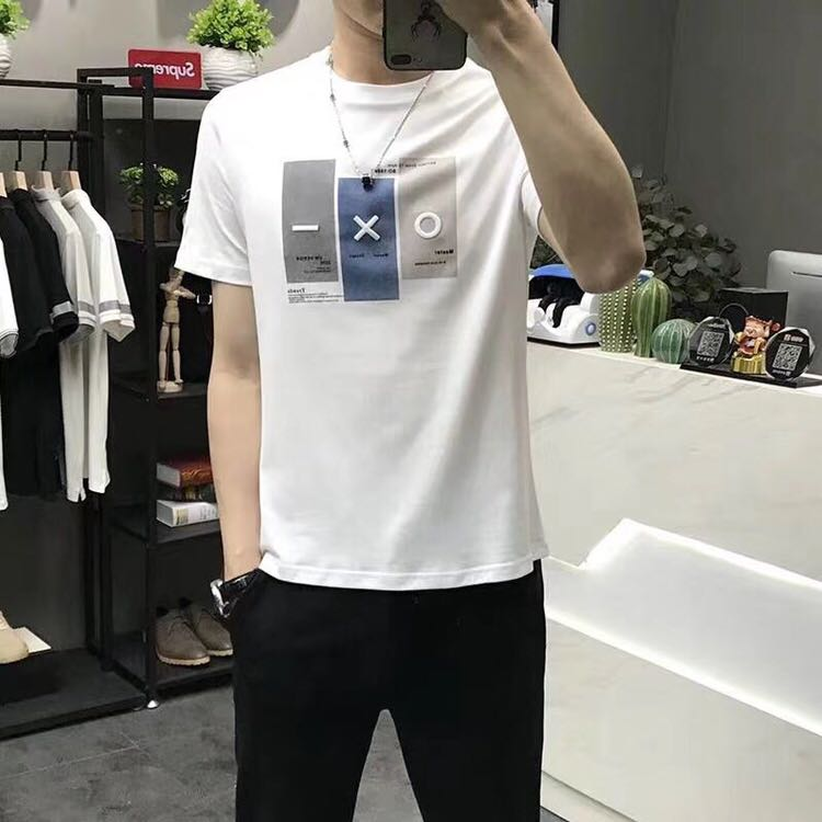 Short sleeve t-shirt mens trend slim handsome round neck 2020 summer half sleeve pure cotton simple fashion embroidery T-shirt