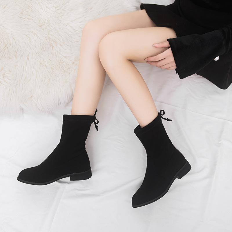 2018秋冬季新款韩版踝靴平底小跟圆头时尚加绒马丁靴女短靴单靴88