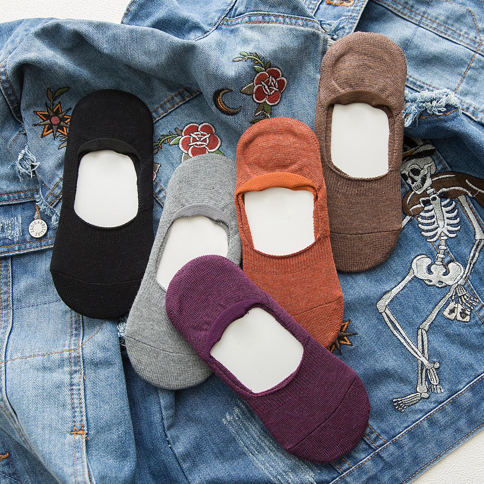 袜子女加厚毛圈秋冬季船袜浅口隐形女士保暖短袜纯棉加绒硅胶防滑