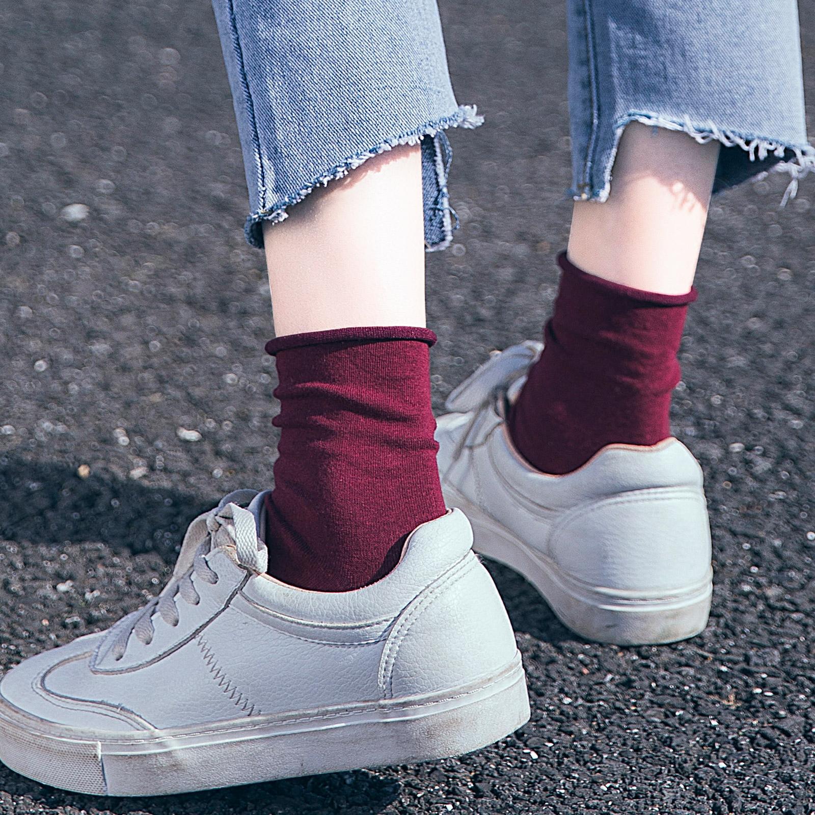 袜子女中筒袜夏季纯色堆堆袜日系百搭薄款透气彩色韩国ins潮夏天
