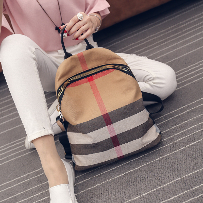 新款韩版大牌背包时尚休闲帆布双肩包迷你背包百搭旅行包书包2019