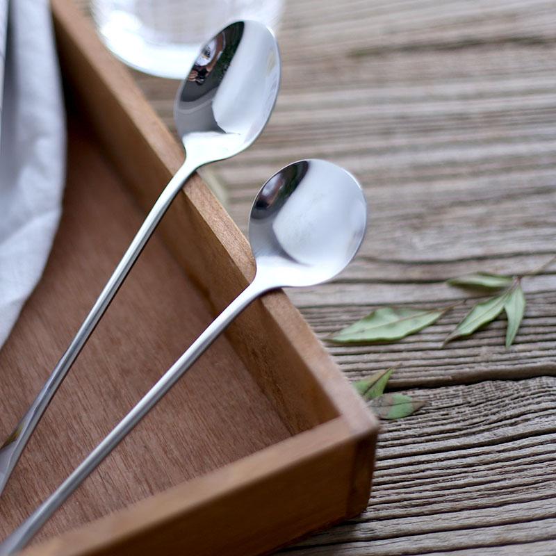 东南隅不锈钢勺子长柄冰勺冰淇淋勺不锈钢咖啡勺点心勺优质搅拌勺