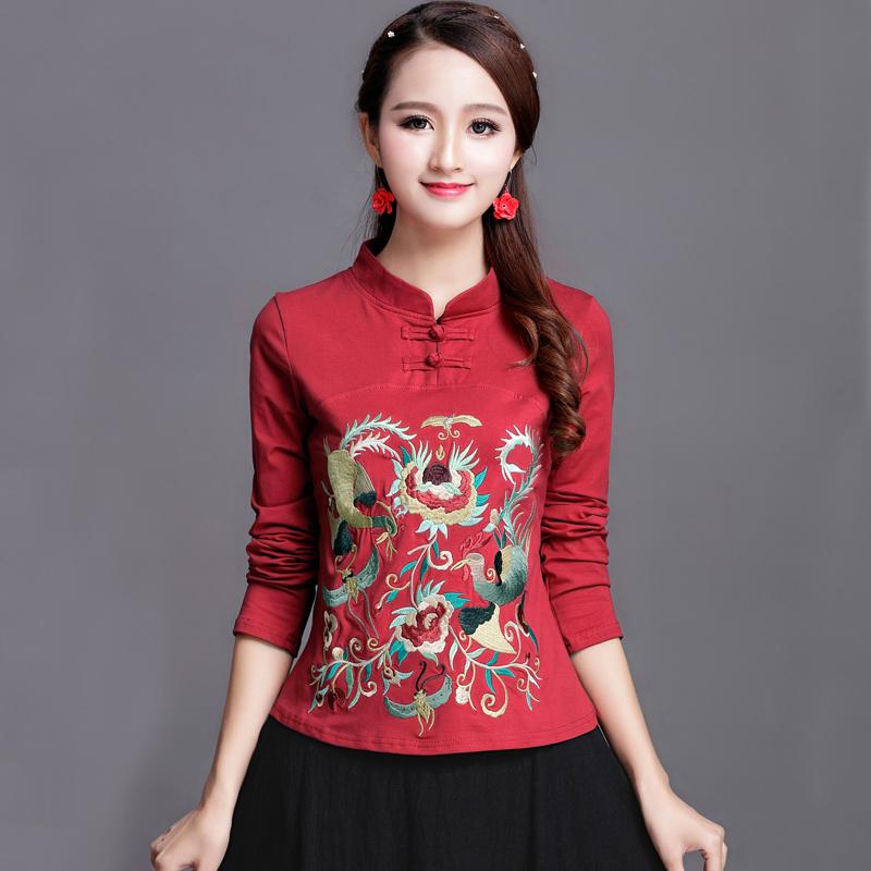 民族风春秋女装新款上衣中国风绣花长袖t恤立领刺绣加绒打底衫女