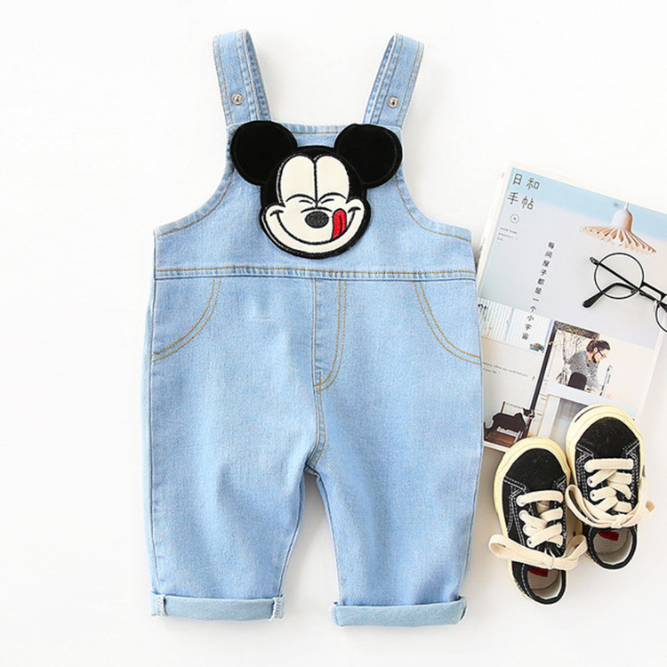 Summer baby cartoon jeans back pants pants pants for young childrens Jumpsuit boys and girls Jumpsuit spring and autumn soft climbing suit