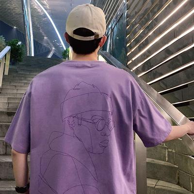 YRT1131-P19短袖T恤男2019夏季时尚男士圆领半袖t恤宽松潮流纯棉