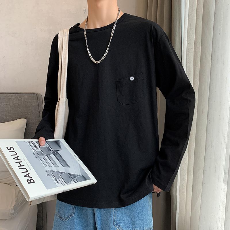 YRT2018-P30长袖T恤男纯色圆领男士体恤打底衫上衣男长T2019(用1元券)