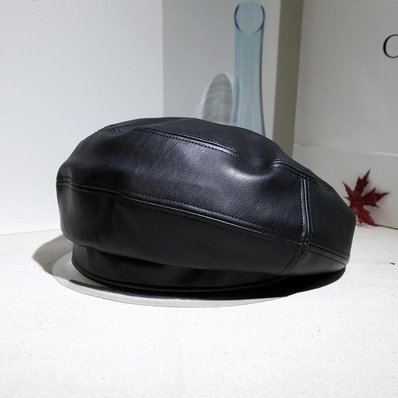 日韩皮质贝雷帽大头围软皮报童帽显脸小黑色蓓蕾帽画家帽皮帽子女