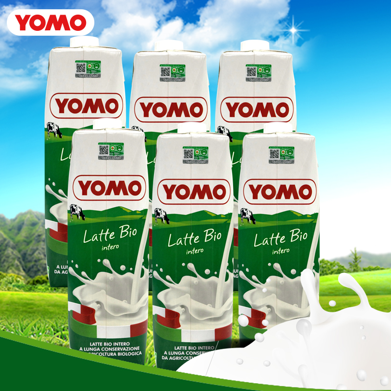 Youmu imported organic whole fat / partial skim pure milk childrens breakfast Milk 1L * 6 bottles due in July, 20