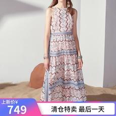 xg雪歌 夏季无袖雪纺连衣裙 花色高腰长裙XF204061B406