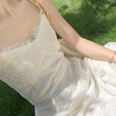 独家原创蒲公英仙女裙夏季新款女木耳边吊带连衣裙中长款修身显瘦