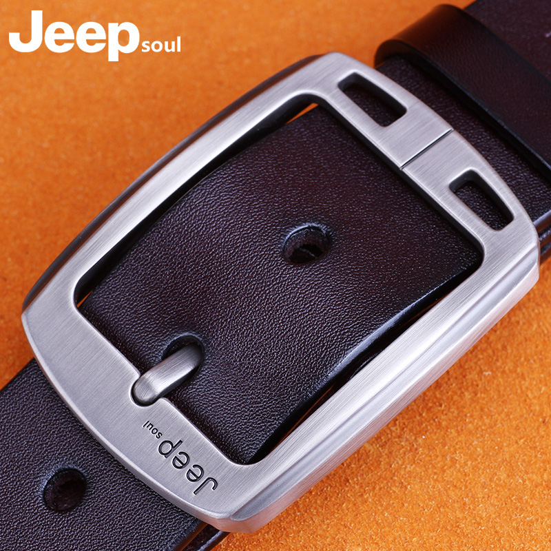 Jeepsoul mens belt leather needle buckle pure leather youth belt middle aged casual Korean personalized belt