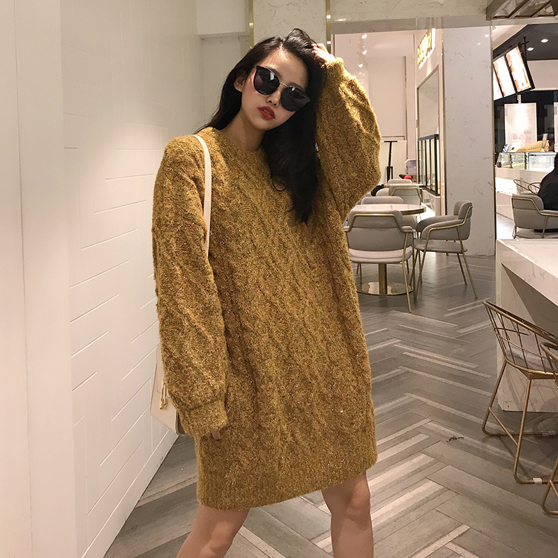 2019 new medium and long knitwear Lingge twist Korean sweater versatile white Pullover Sweater 5 colors