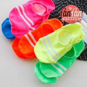 荧光色两条杠船袜进口全棉吸汗透气春夏秋款女袜套后跟硅胶防滑落