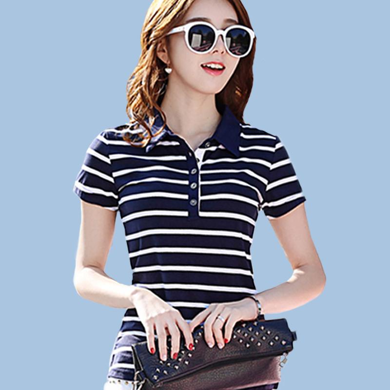 polo衫短袖t恤女横条纹衬衣领莫代尔修身大码有带领子休闲运动衫